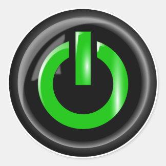 """ Green On "" Black Power Button Classic Round Sticker"