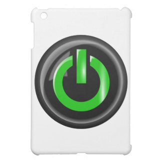 """"""" Green On """" Black Power Button Cover For The iPad Mini"""
