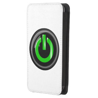 """"""" Green On """" Black Power Button Galaxy S4 Pouch"""