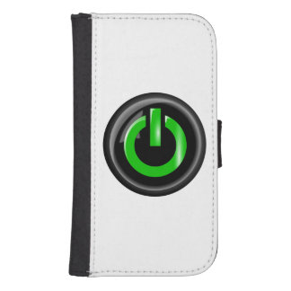 """"""" Green On """" Black Power Button Galaxy S4 Wallet Cases"""