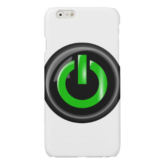 """"""" Green On """" Black Power Button Glossy iPhone 6 Case"""