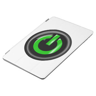 """"""" Green On """" Black Power Button iPad Air Cover"""