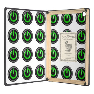 """"""" Green On """" Black Power Button iPad Air Covers"""