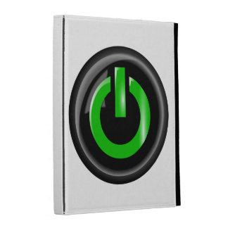 """ Green On "" Black Power Button iPad Folio Cases"