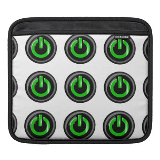 """ Green On "" Black Power Button iPad Sleeve"