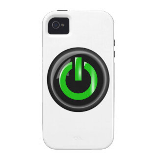 """"""" Green On """" Black Power Button iPhone 4 Cases"""