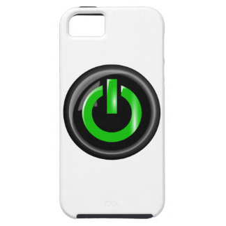 """"""" Green On """" Black Power Button iPhone 5 Cases"""