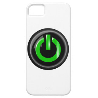 """"""" Green On """" Black Power Button iPhone 5 Covers"""