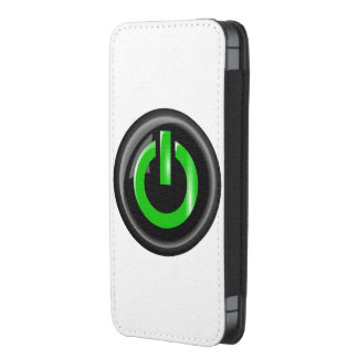 """"""" Green On """" Black Power Button iPhone 5 Pouch"""