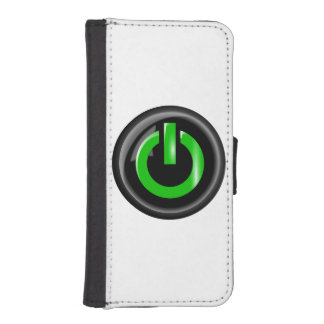 """"""" Green On """" Black Power Button iPhone 5 Wallet"""