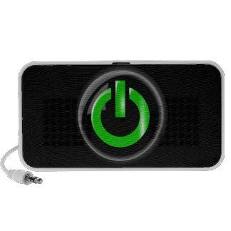 """ Green On "" Black Power Button iPod Speaker"