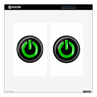 """"""" Green On """" Black Power Button Kindle Fire Skin"""