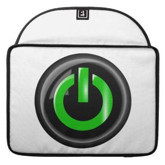 """ Green On "" Black Power Button MacBook Pro Sleeve"