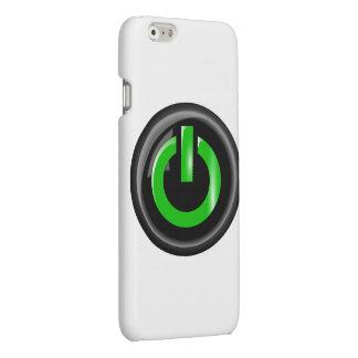 """ Green On "" Black Power Button Matte iPhone 6 Case"