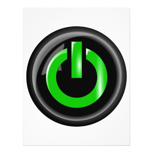 """ Green On "" Black Power Button Personalized Flyer"
