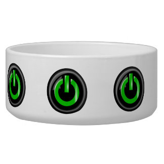 """ Green On "" Black Power Button Pet Bowls"