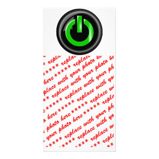 """"""" Green On """" Black Power Button Photo Card"""