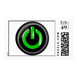 """"""" Green On """" Black Power Button Postage"""