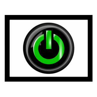 """ Green On "" Black Power Button Postcard"