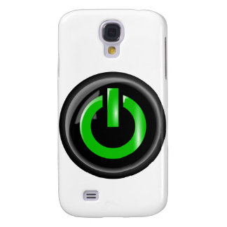 """"""" Green On """" Black Power Button Samsung Galaxy S4 Cover"""