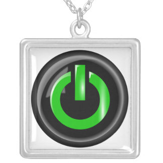 """"""" Green On """" Black Power Button Square Pendant Necklace"""