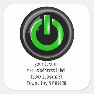 """ Green On "" Black Power Button Square Sticker"