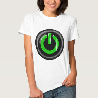 """ Green On "" Black Power Button T Shirt"