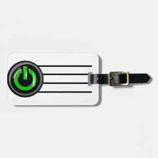 """"""" Green On """" Black Power Button Tags For Luggage"""