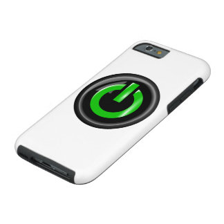 """ Green On "" Black Power Button Tough iPhone 6 Case"