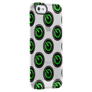 """"""" Green On """" Black Power Button Uncommon Clearly™ Deflector iPhone 5 Case"""