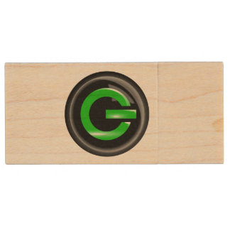 """ Green On "" Black Power Button Wood USB 2.0 Flash Drive"