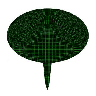 Green on Black virtual reality spheres Cake Topper