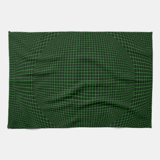 Green on Black virtual reality spheres Towel