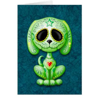 Green on Blue Zombie Sugar Puppy Card