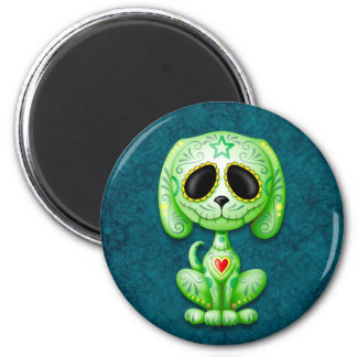 Green on Blue Zombie Sugar Puppy Refrigerator Magnets