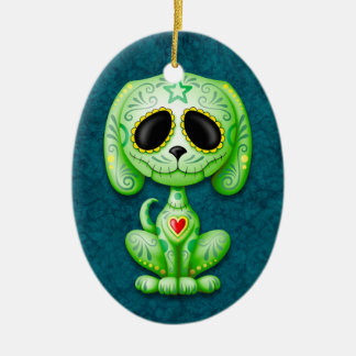 Green on Blue Zombie Sugar Puppy Ornaments