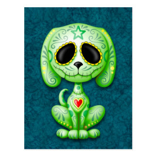 Green on Blue Zombie Sugar Puppy Postcard