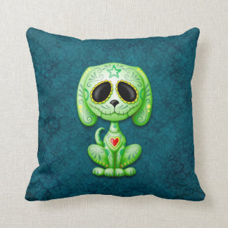 Green on Blue Zombie Sugar Puppy Throw Pillow