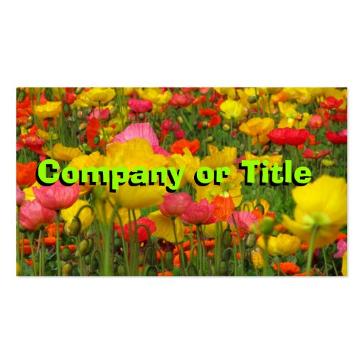 Green On Colorful Corn Poppies Business Card