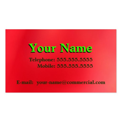 Green On Gradient Red Orange Business Card Templates