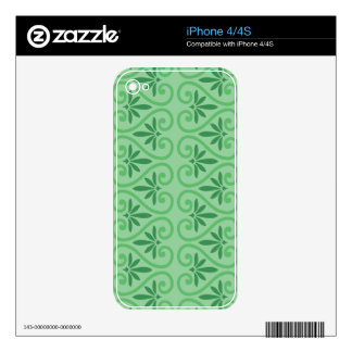 Green on Green Damask Pattern iPhone 4S Decal