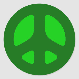 Green on Green Peace Sign Stickers