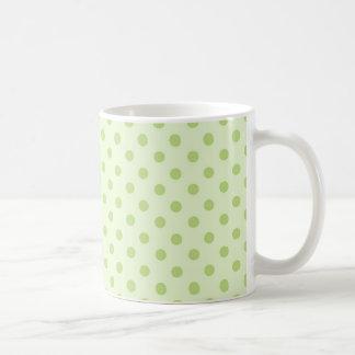 Green on green polka dot coffee mugs
