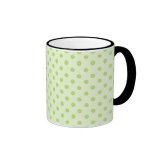 Green on green polka dot mugs