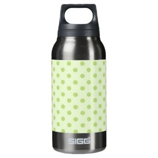 Green on green polka dot thermos water bottle