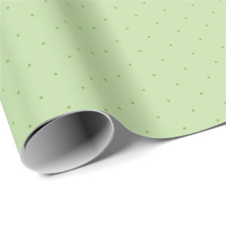 Green on light green polka dots wrapping paper