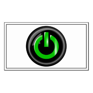 Green On Power Button - Black Business Card Template