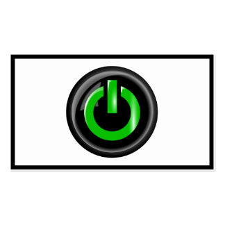 Green On Power Button - Black Business Card