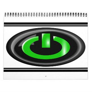 Green On Power Button - Black Calendar