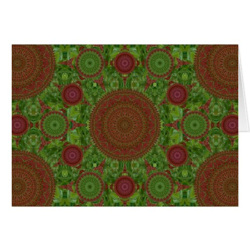 Green on Red Chile Mandala Array Christmas Card